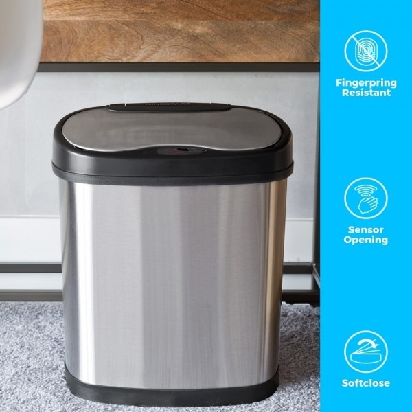 12 Litre Oval Plus Series Stainless Steel Autobin