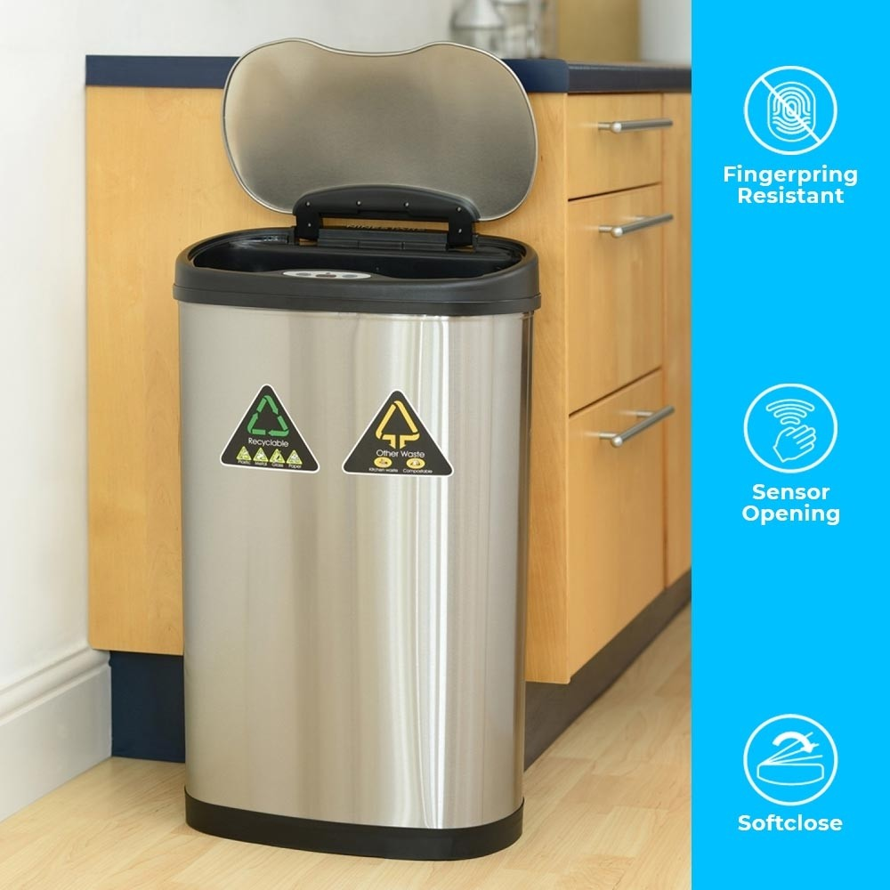 50 Litre (30 Litre + 20 Litre) Smart Trash Bin with a modern look and separate compartments for waste management