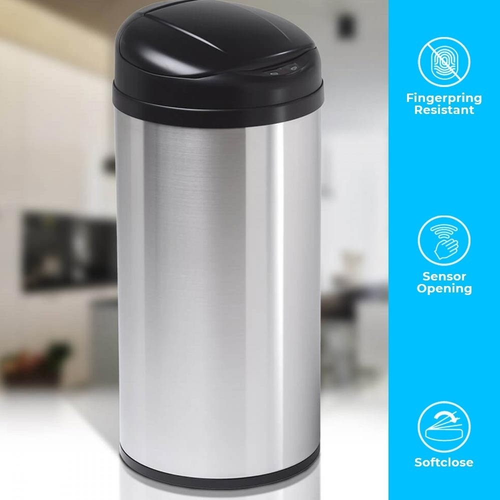 Smart cylinder-shaped dustbin has a modern look and stainless steel exterior
