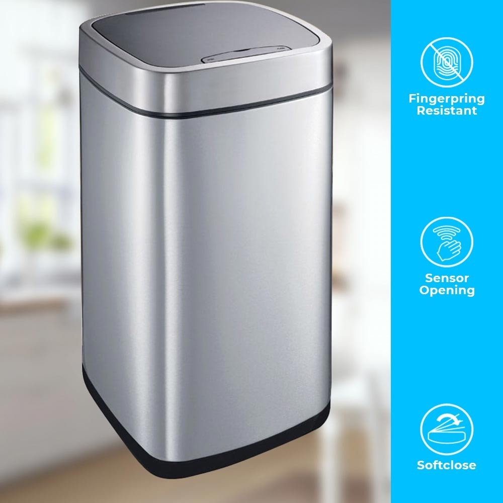 PERFECT 50 LITRE AUTOBIN - BRUSHED STEEL