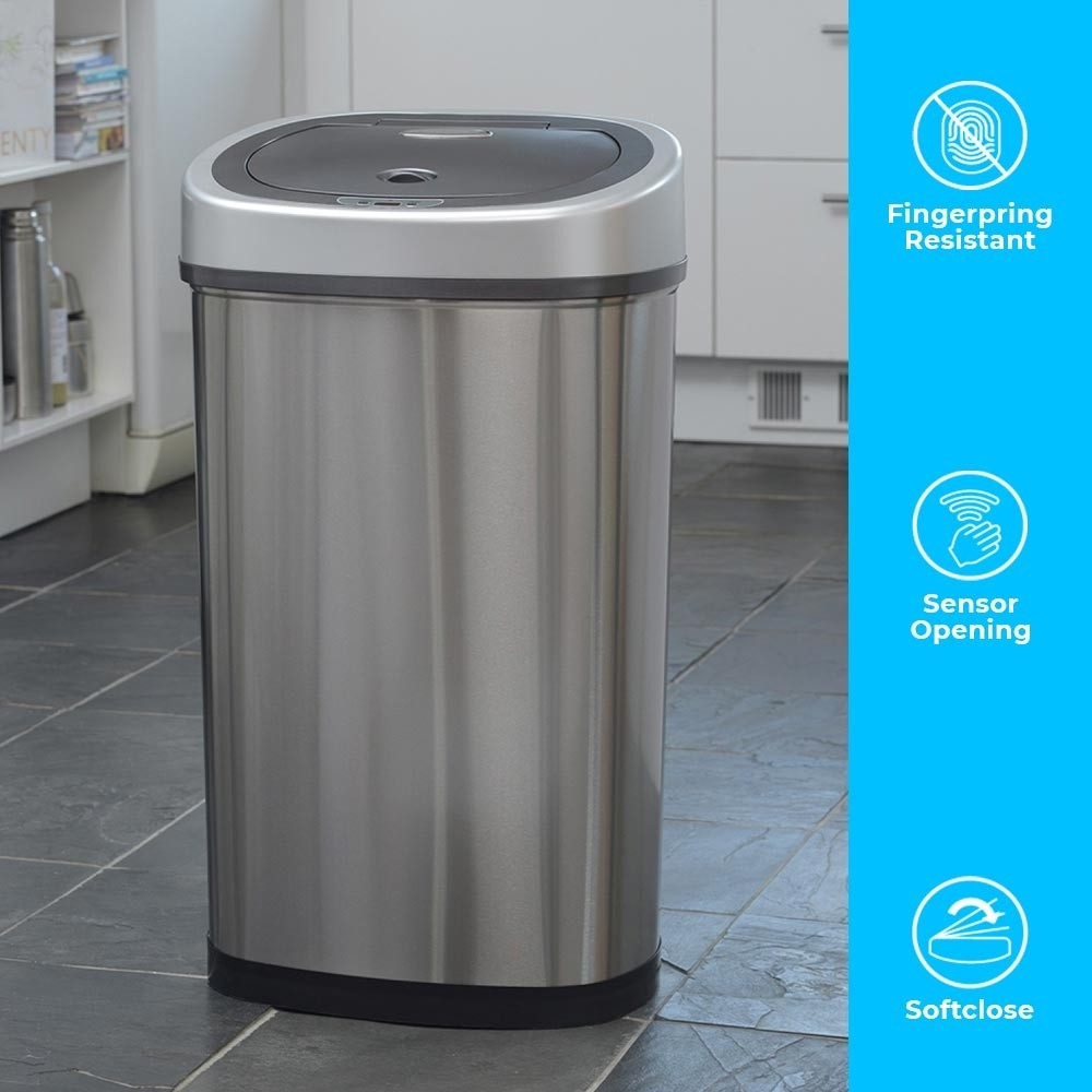 50 Litre Oval Series Stainless Steel Autobin