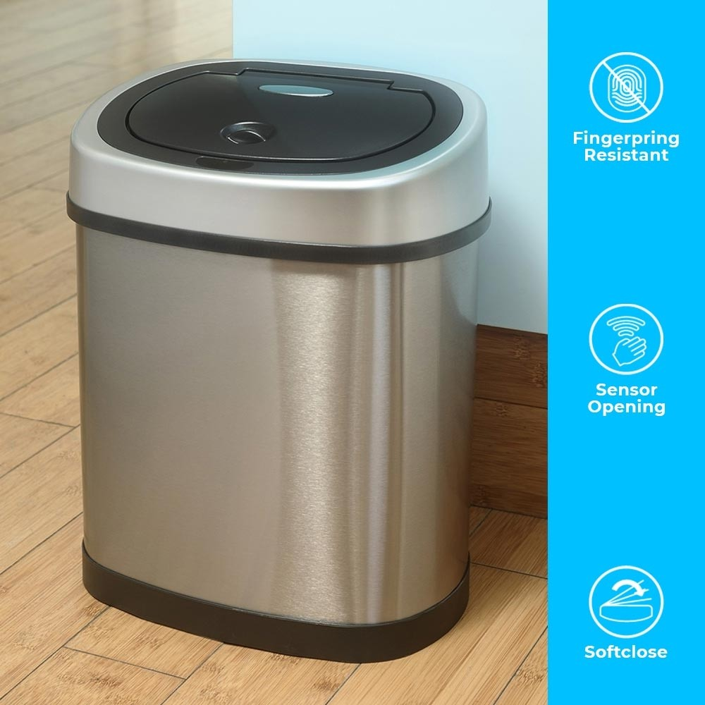 12 Litre Oval Series Stainless Steel Autobin