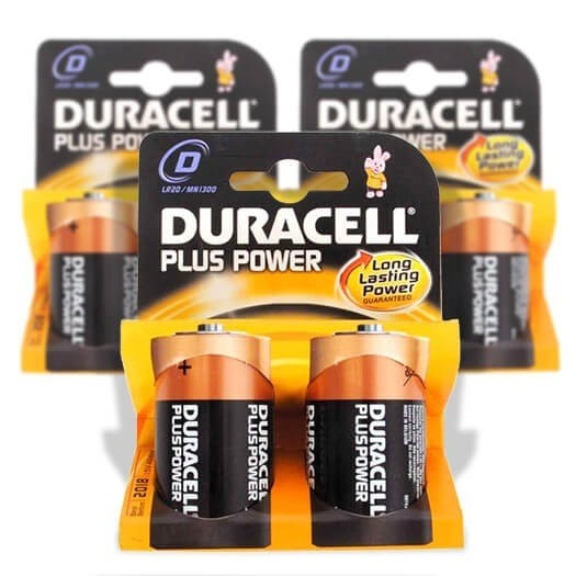 "DURACELL BATTERIES SIZE ""D"" PACK OF 2"
