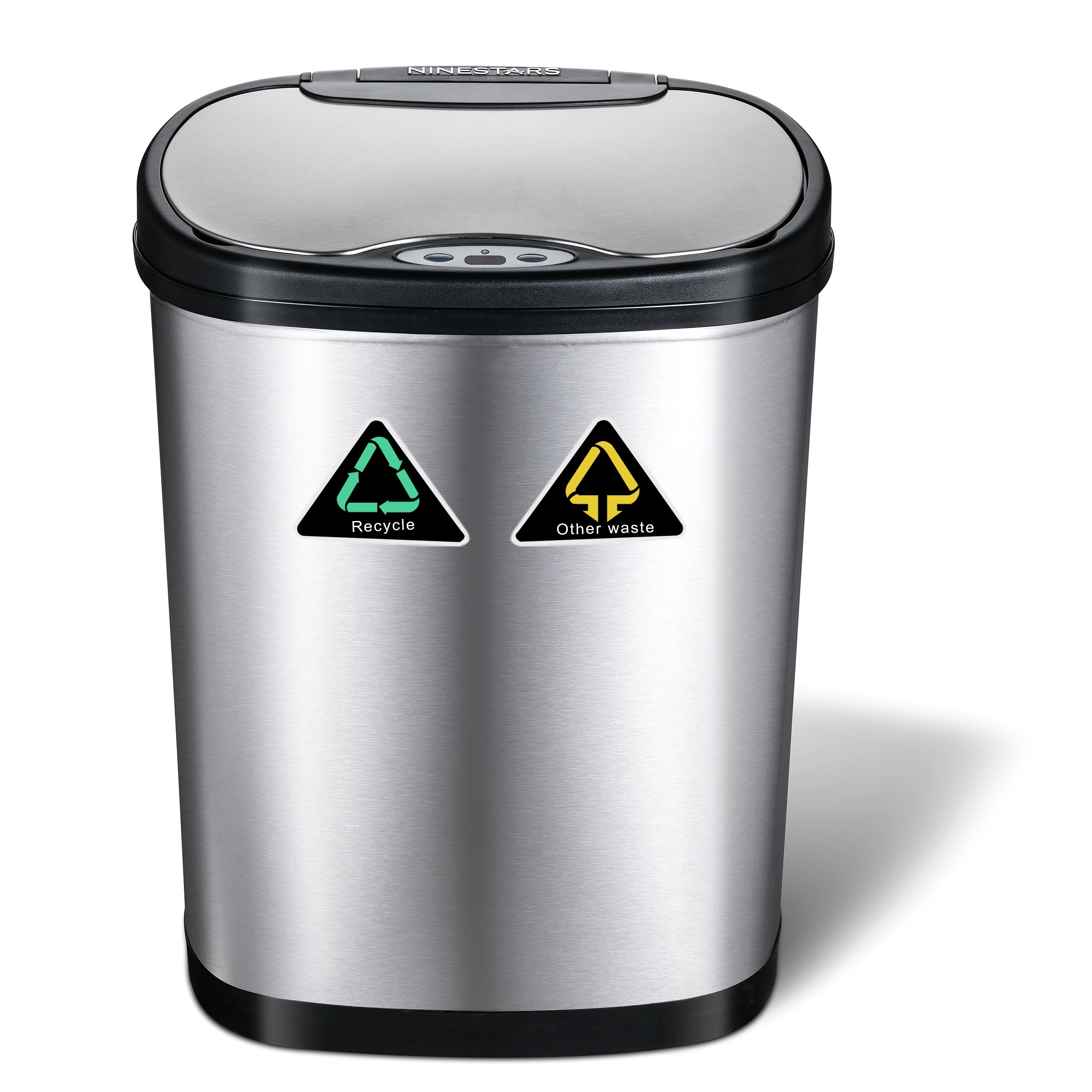 42 Litre (24 Litre + 18 Litre) Oval Plus Recycling Stainless Steel Autobin